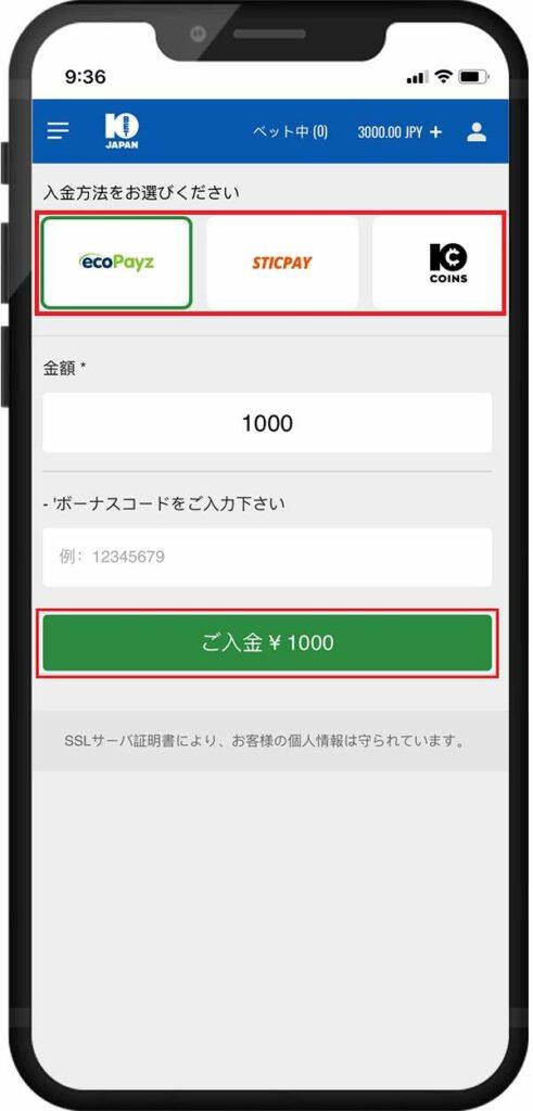 10ベットジャパン入金完了